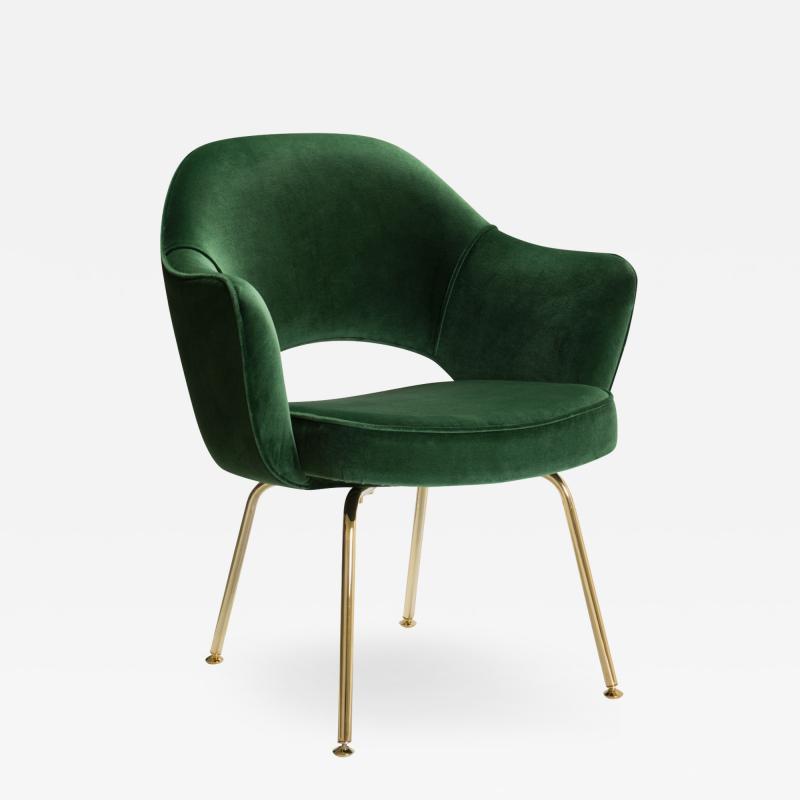 Eero Saarinen Saarinen Executive Arm Chairs in Emerald Velvet 24k Gold Edition