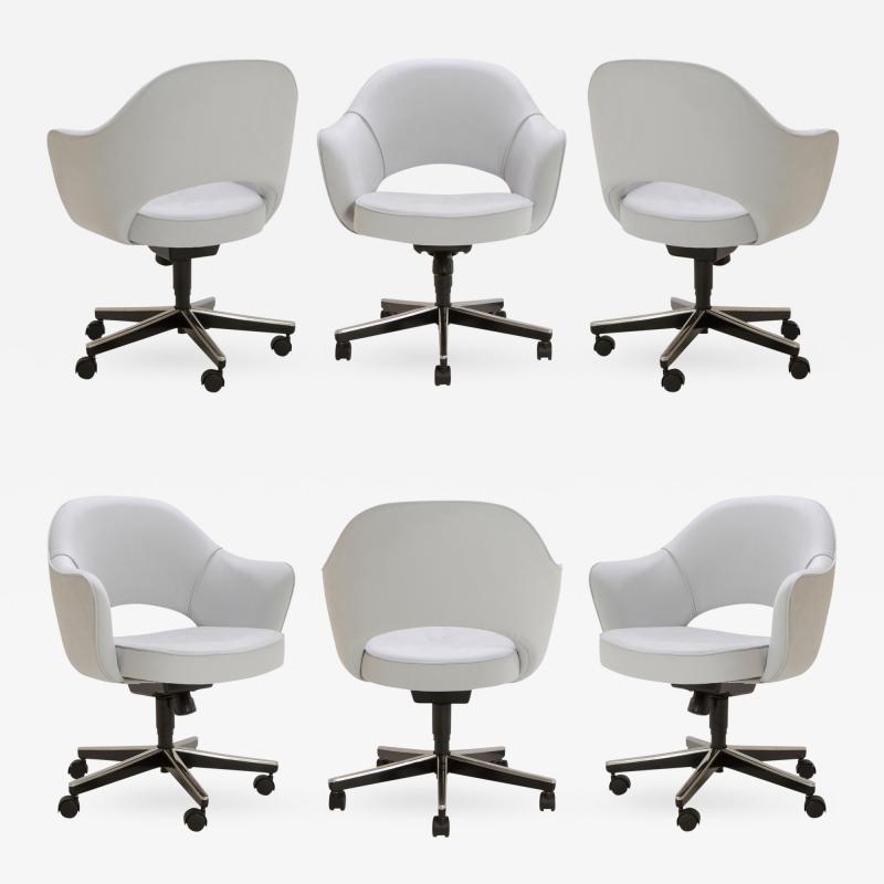 Eero Saarinen Saarinen Executive Arm Chairs in Fog Luxe Suede Swivel Base Set of 6