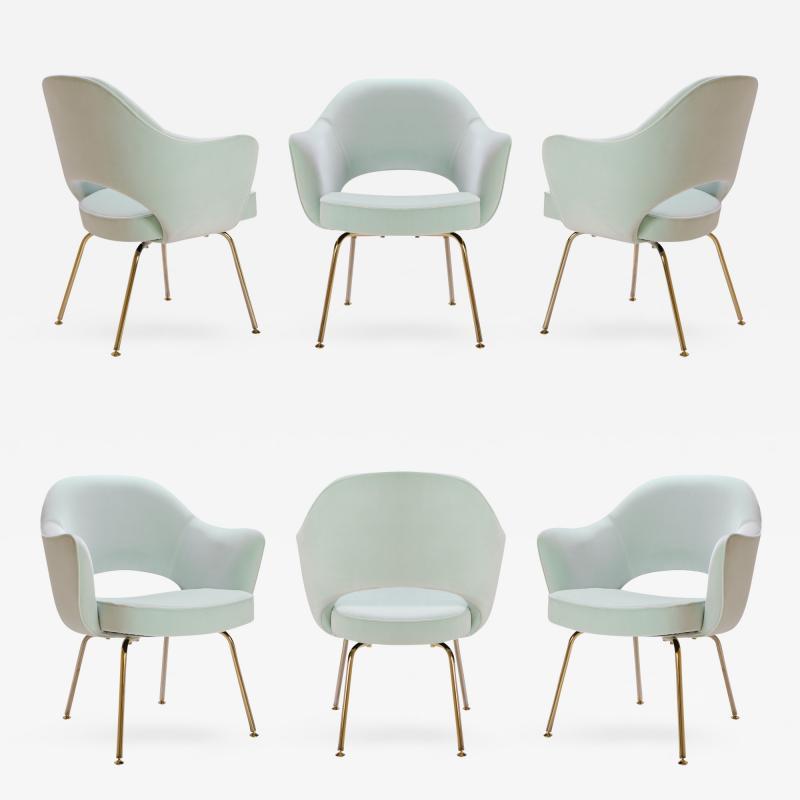 Eero Saarinen Saarinen Executive Arm Chairs in Mint Velvet 24 Karat Gold Edition Set of Six