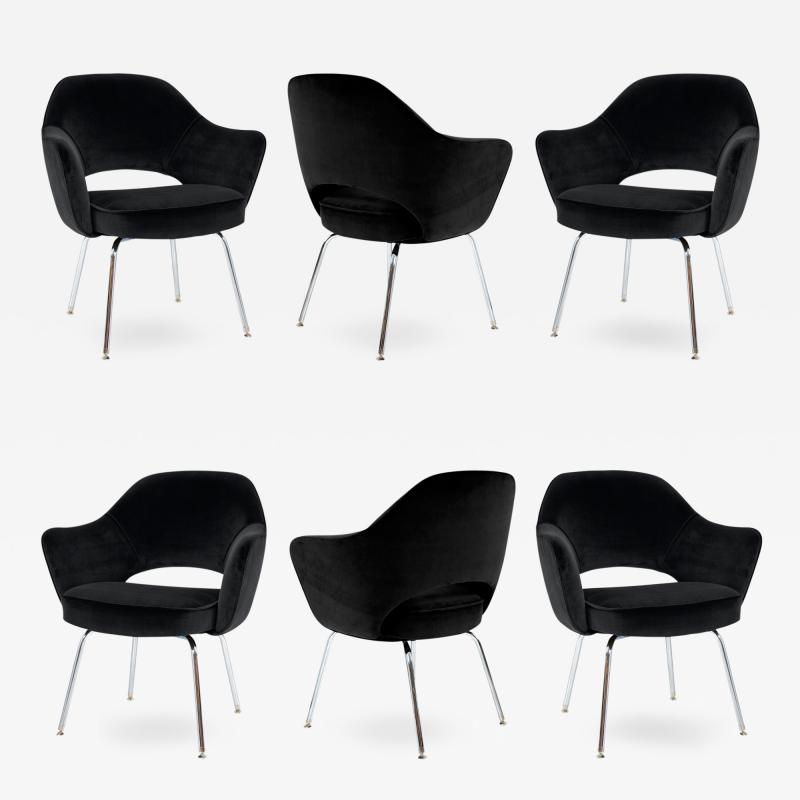 Eero Saarinen Saarinen Executive Armchairs in Black Velvet Set of Six