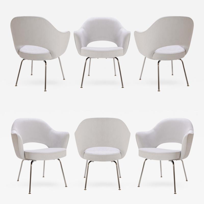 Eero Saarinen Saarinen Executive Armchairs in Dove Ultrasuede Set of Six