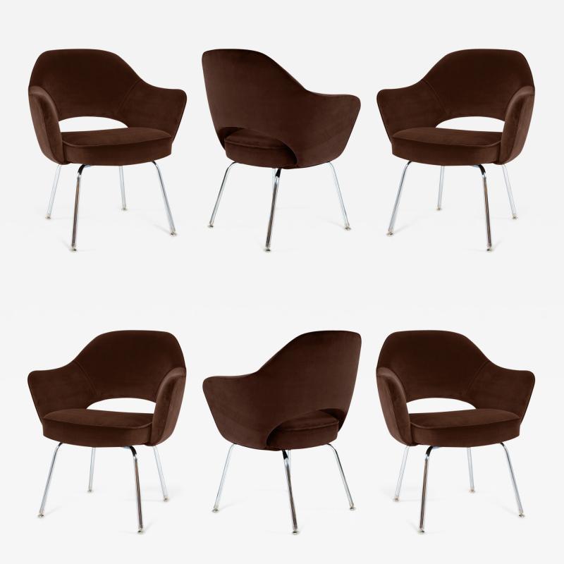 Eero Saarinen Saarinen Executive Armchairs in Espresso Brown Velvet Set of Six