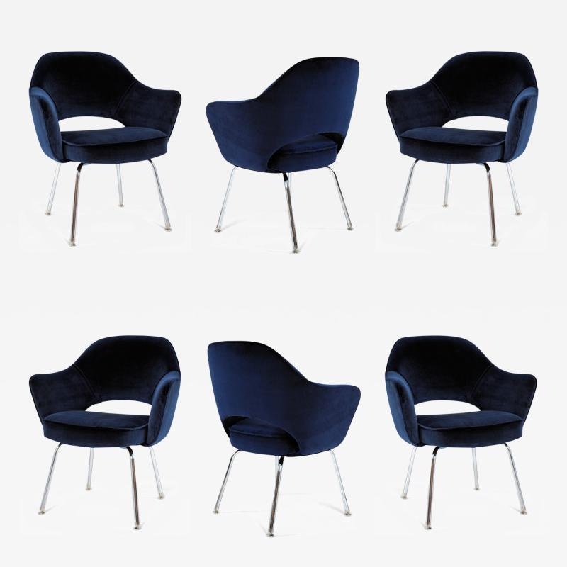 Eero Saarinen Saarinen Executive Armchairs in Espresso Navy Velvet Set of Six