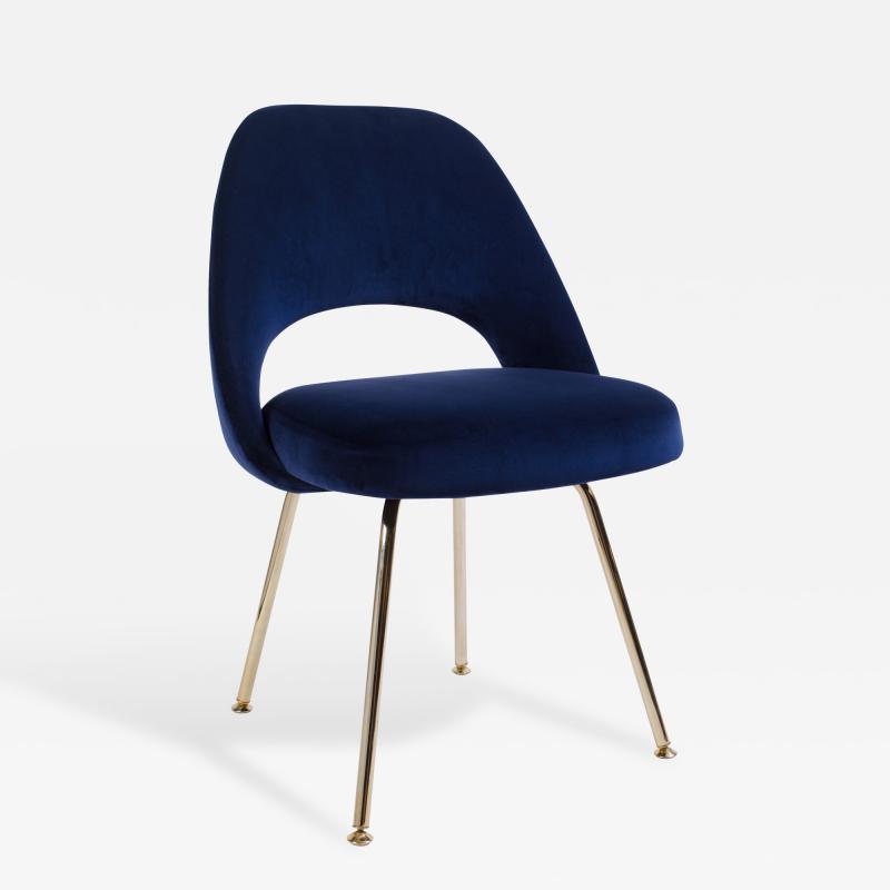 Eero Saarinen Saarinen Executive Armless Chair in Navy Velvet 24k Gold Edition