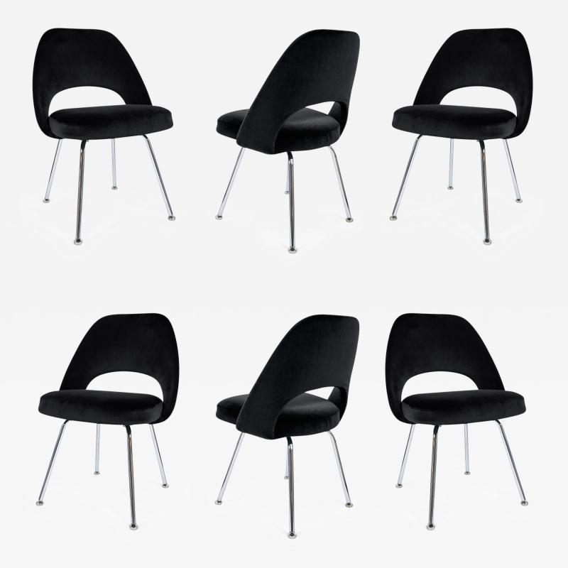 Eero Saarinen Saarinen Executive Armless Chairs in Black Velvet Set of Six