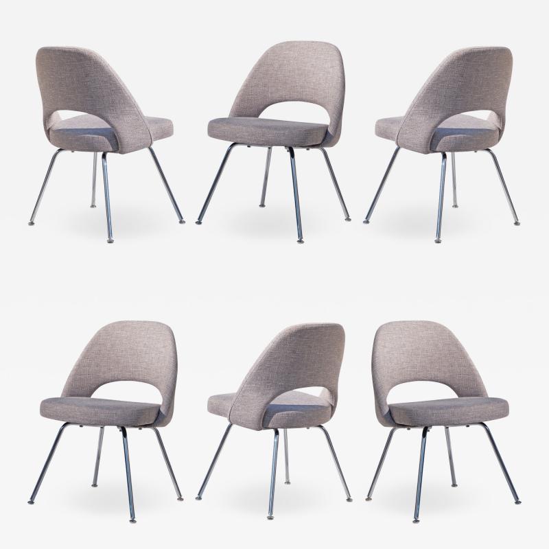Eero Saarinen Saarinen Executive Armless Chairs in Gray by Eero Saarinen for Knoll Set of 6