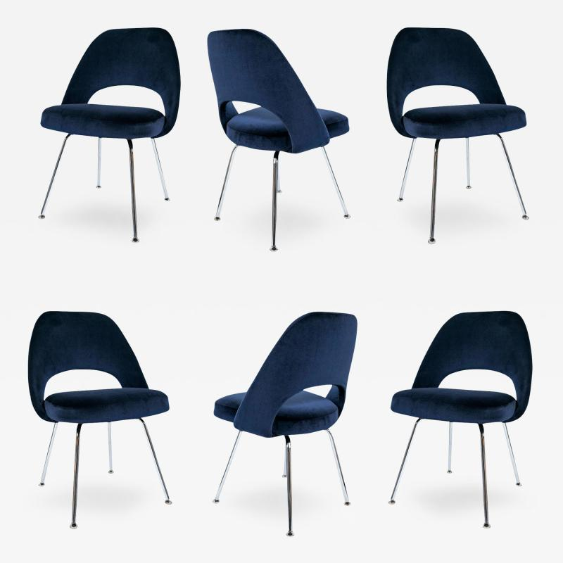 Eero Saarinen Saarinen Executive Armless Chairs in Navy Velvet Set of 6