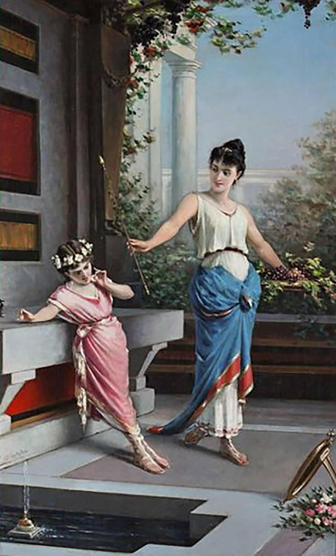 Egisto Sarri Pompeian Scene Oil on Canvas