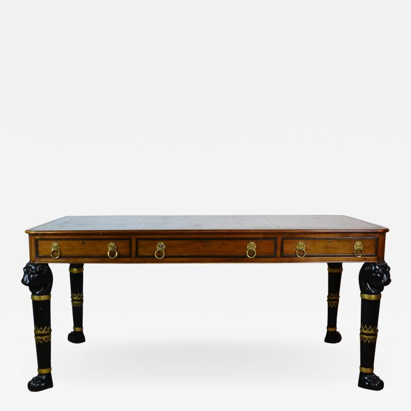 Egyptian Revival Leather Top Desk