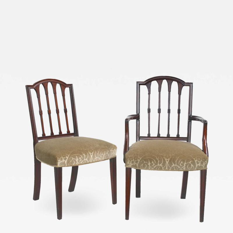 Eight American Hepplewhite Revival Dining Chairs