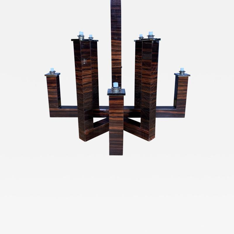 Eight Arm Rosewood Laminate Chandelier