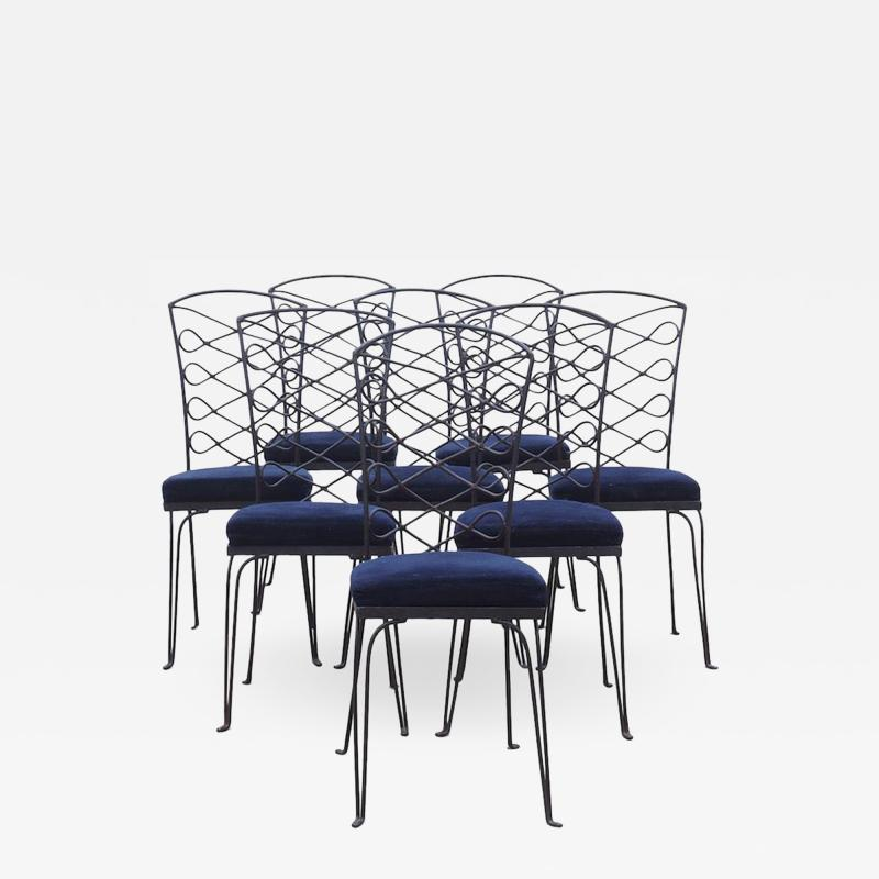 Eight Metal Chairs in the manner of Ren Prou