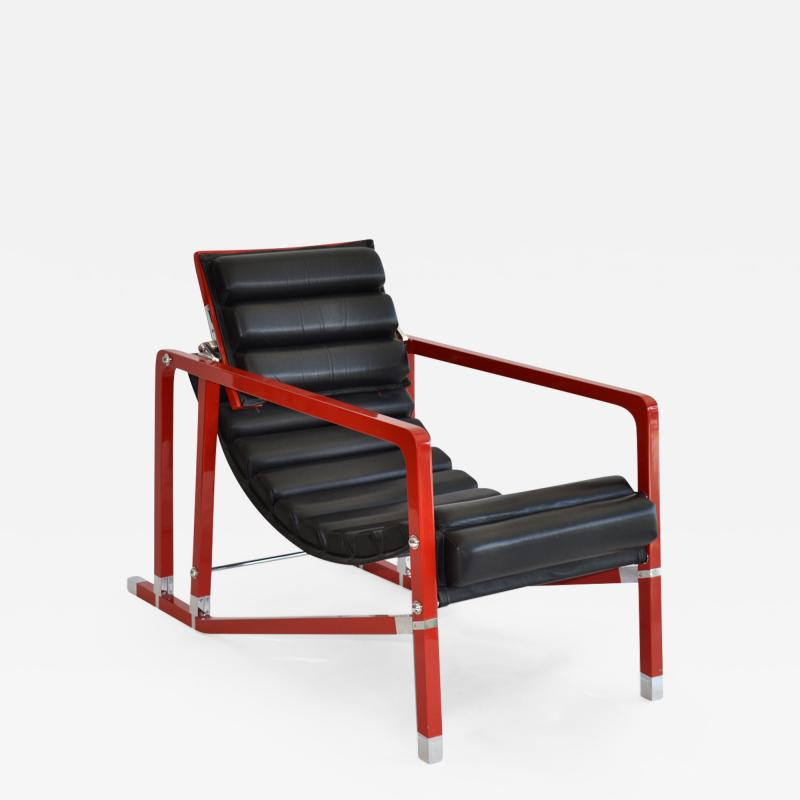 Eileen Gray Transat Armchair by Eileen Gray in Red Lacquer c 1990