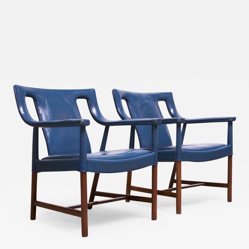 Ejner Larsen Aksel Bender Madsen Pair of Danish Blue Leather Armchairs by Ejner Larsen and Aksel Bender Madsen