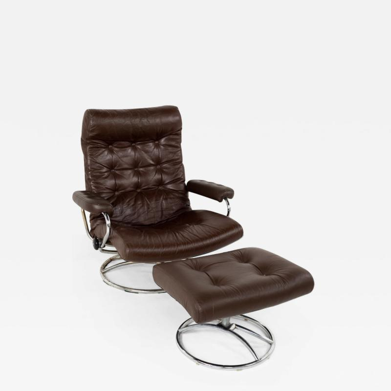 Ekornes Stressless Mid Century Chrome and Leather Lounge Chair and Ottoman