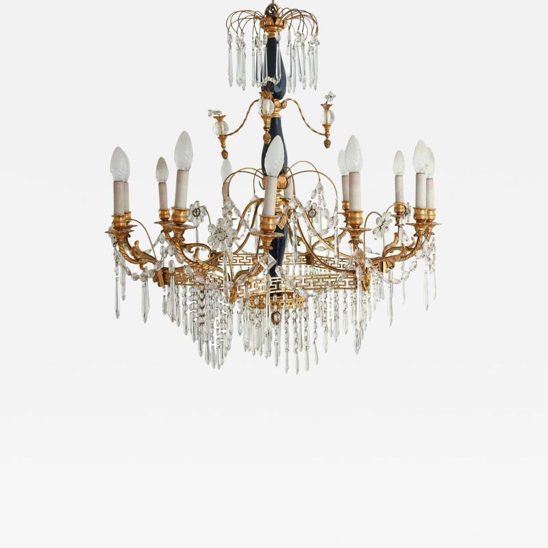 Elegant 19th Century Neoclassical Baltic Crystal and Gilt Bronze Chandelier
