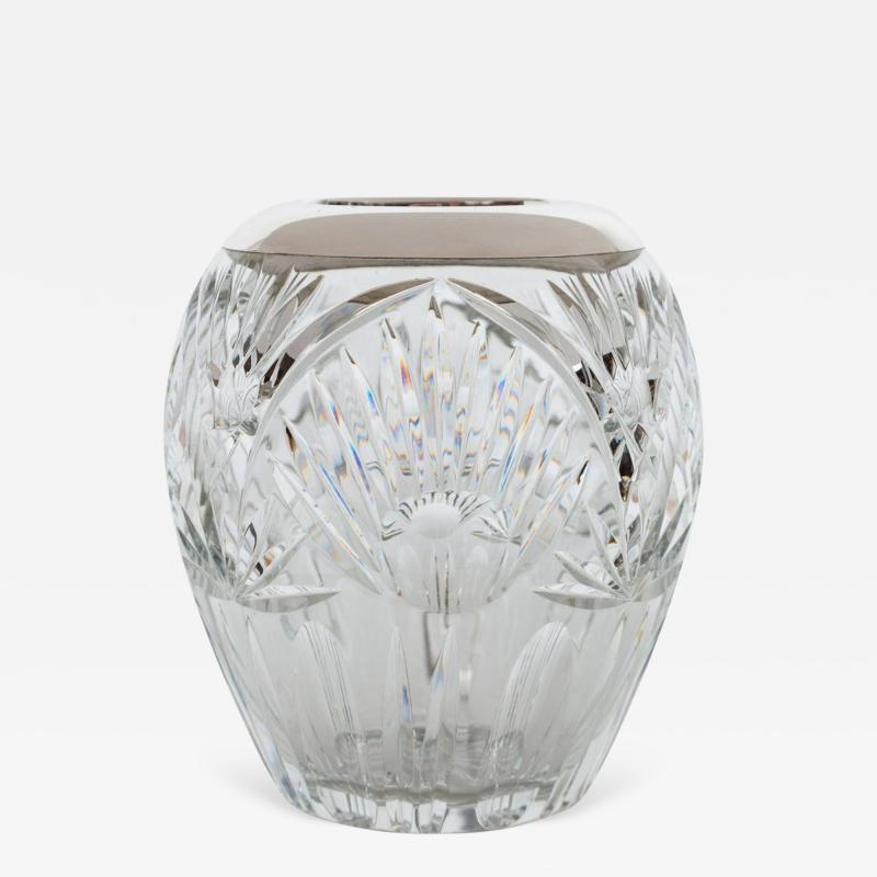 Elegant Cut Crystal and Sterling Silver Vase