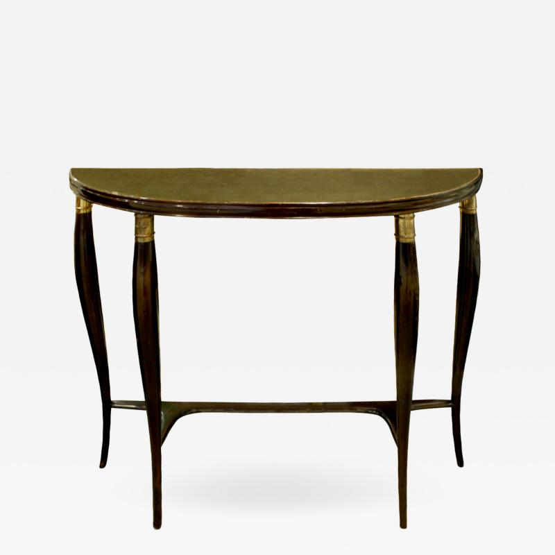 Elegant Demi Lune Shaped Console with Gold Leaf Glass Top 1950s