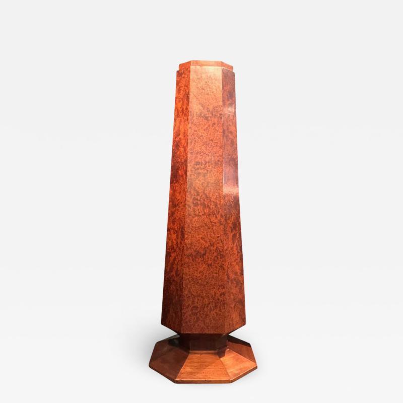 Elegant french Art Deco period burled wood pedestal