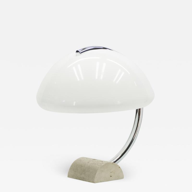 Elio Martinelli Italian Elio Martinelli Serpente chrome travertine table lamp 1960s