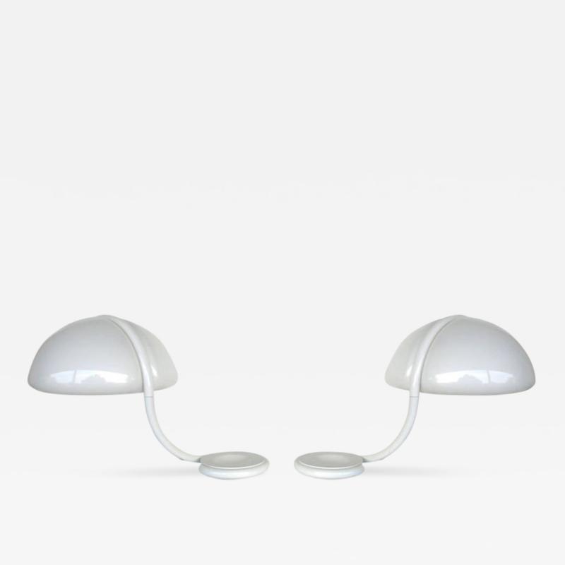 Elio Martinelli Pair of Serpente Lamps White 1970s