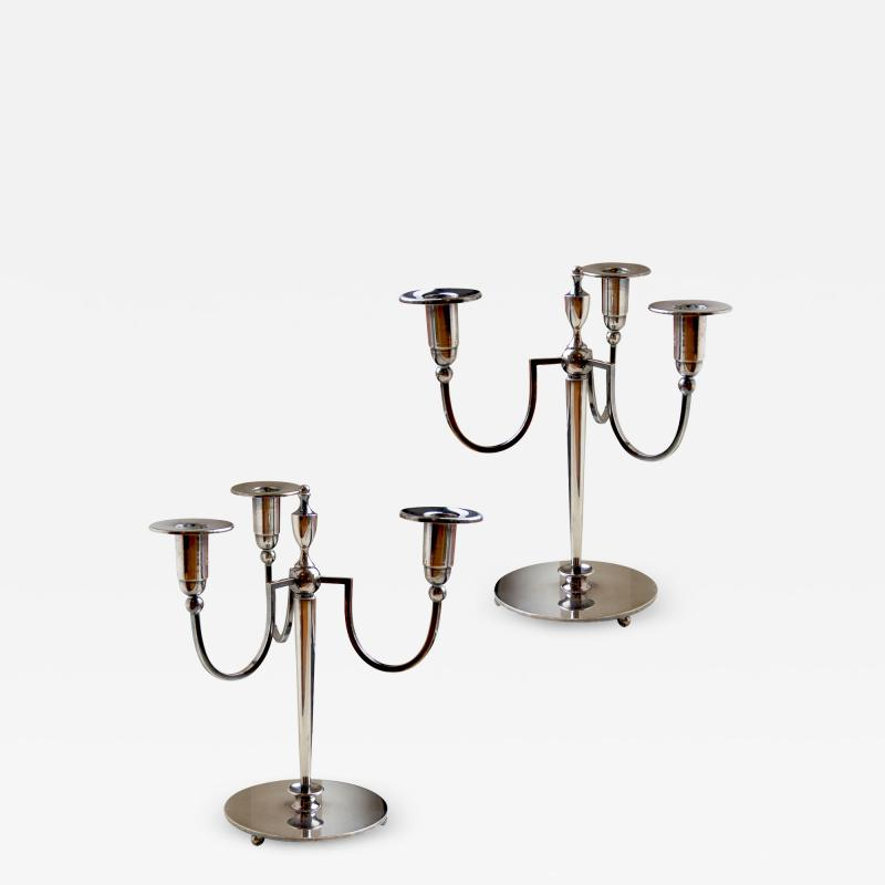 Elis Bergh Rare and Exquisite Art Deco Pair of Silvered Three Arm Candelabras by Elis Bergh