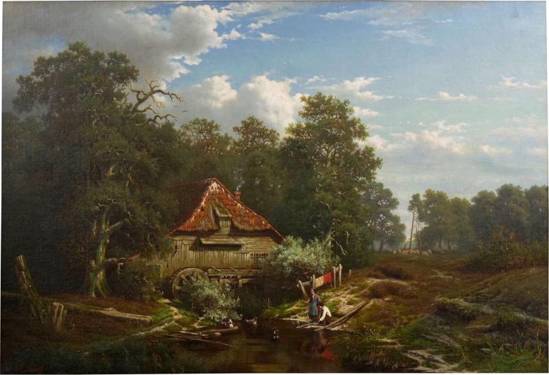 Elisa Agnetus Emilius Nyhoff The Old Red Mill French Antique Oil Painting by Elisa Agnetus Emilius Nyhoff