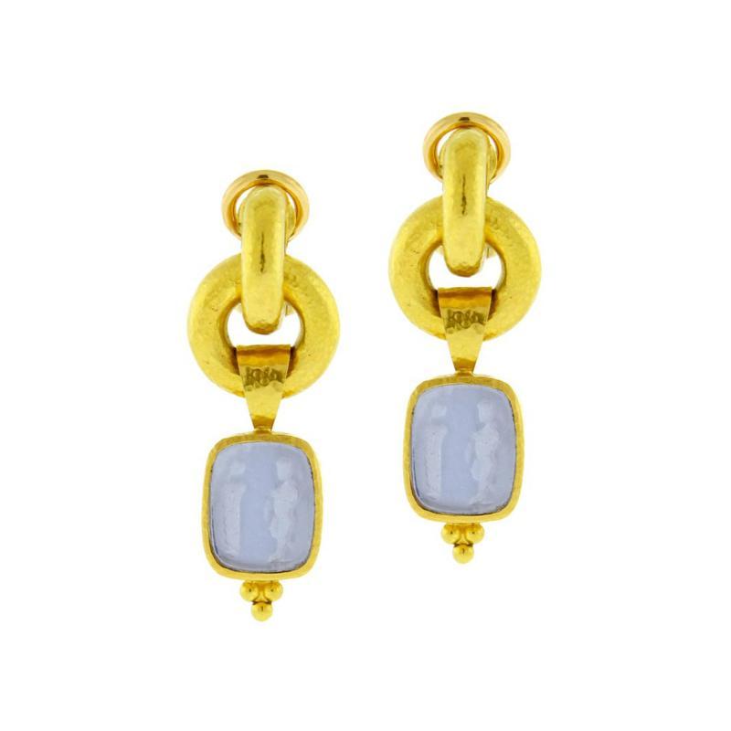 Elizabeth Locke Elizabeth Locke Cerulean Venetian Glass Intaglio God and Pillar Earrings