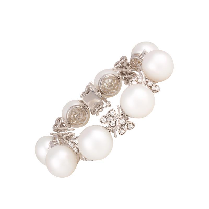 Ella Gafter Australian White South Sea Pearl and Diamond Bracelet