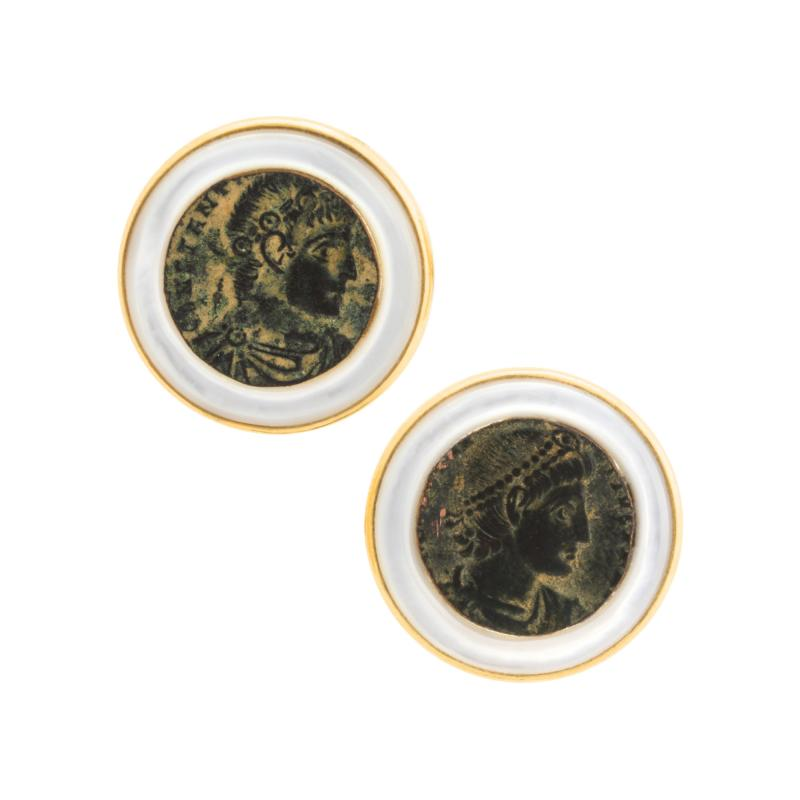 Ella Gafter Ella Gafter Antique Copper Coin Cufflinks Yellow Gold