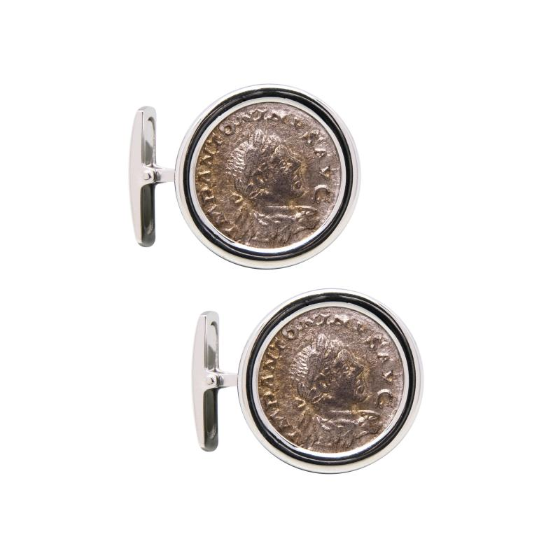 Ella Gafter Ella Gafter Antique Silver Coin Cufflinks White Gold