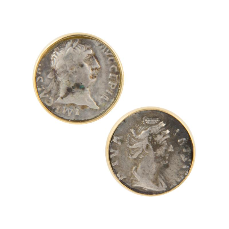 Ella Gafter Ella Gafter Antique Silver Coin Cufflinks Yellow Gold