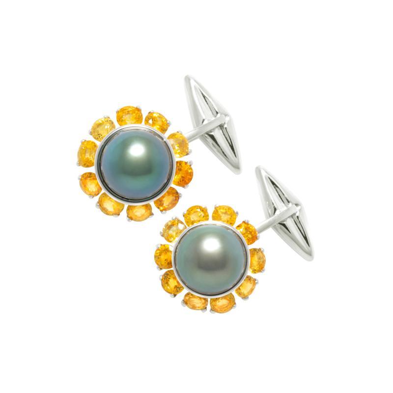 Ella Gafter Ella Gafter Black Tahitian Pearl Cufflinks Sapphire White Gold