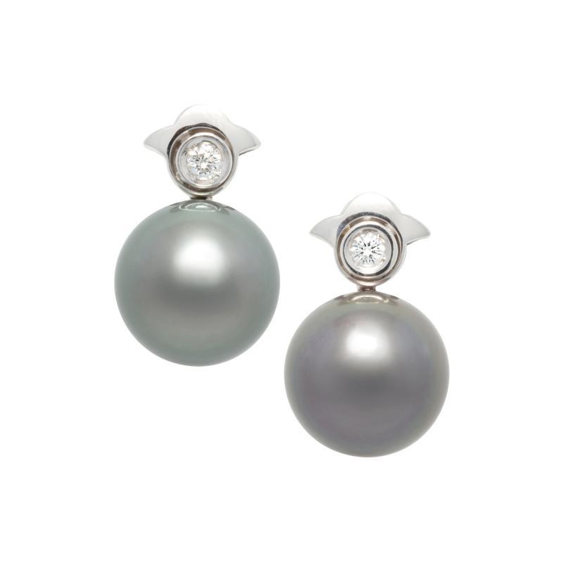 Ella Gafter Ella Gafter Black Tahitian Pearl and Diamond Clip On Earrings