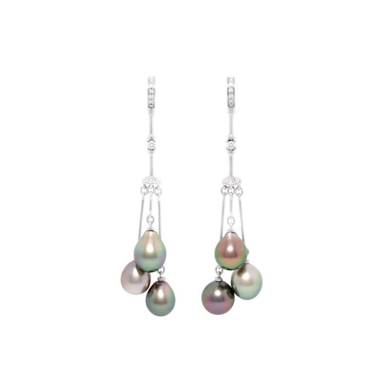 Ella Gafter Ella Gafter Black Tahitian Pearl and Diamond Drop Earrings
