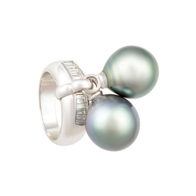 Ella Gafter Ella Gafter Black Tahitian Pearl and Diamond Ring