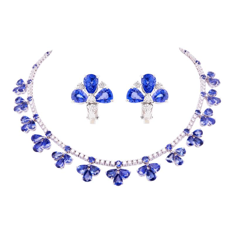 Ella Gafter Ella Gafter Blue Ceylon Sapphire Diamond Flower Necklace and Earrings Set