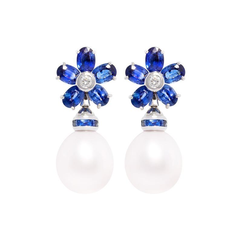 Ella Gafter Ella Gafter Blue Sapphire South Sea Pearl Drop Earrings Flower Design