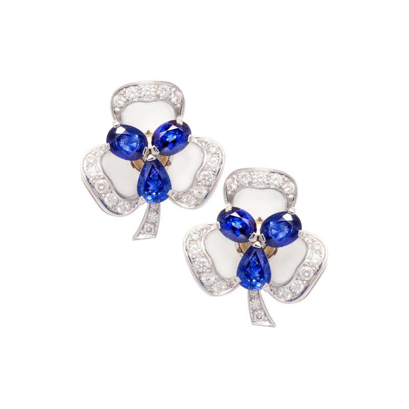 Ella Gafter Ella Gafter Blue Sapphire and Diamond Clip On Earrings Clover Flower Design