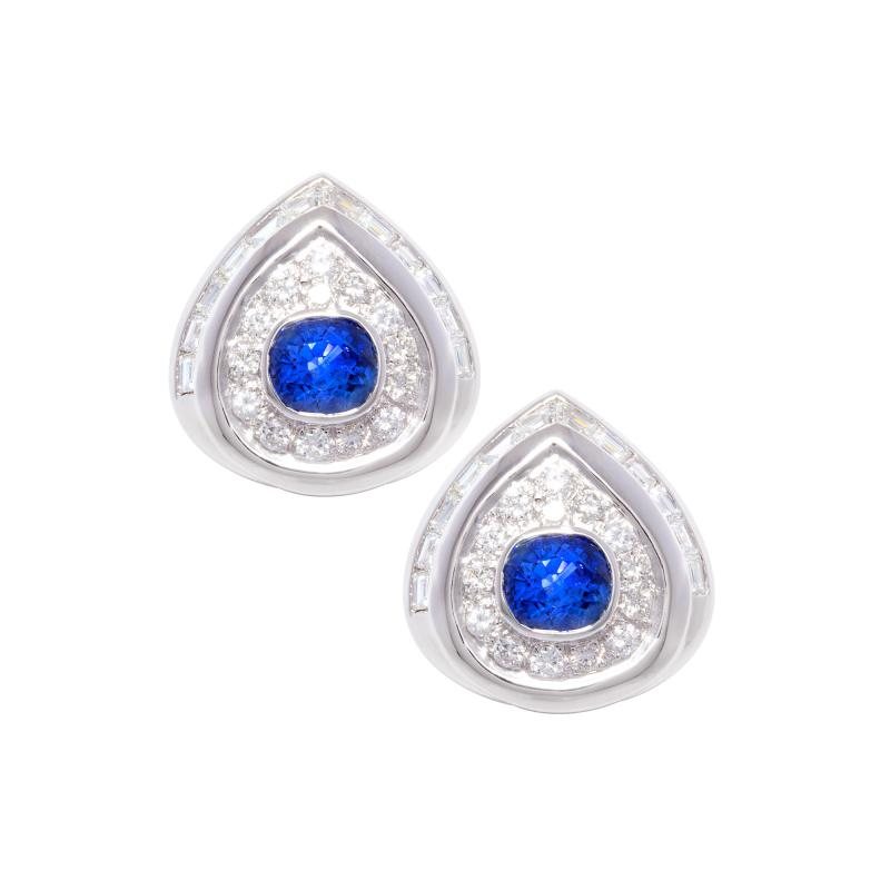Ella Gafter Ella Gafter Blue Sapphire and Diamond Clip on Earrings