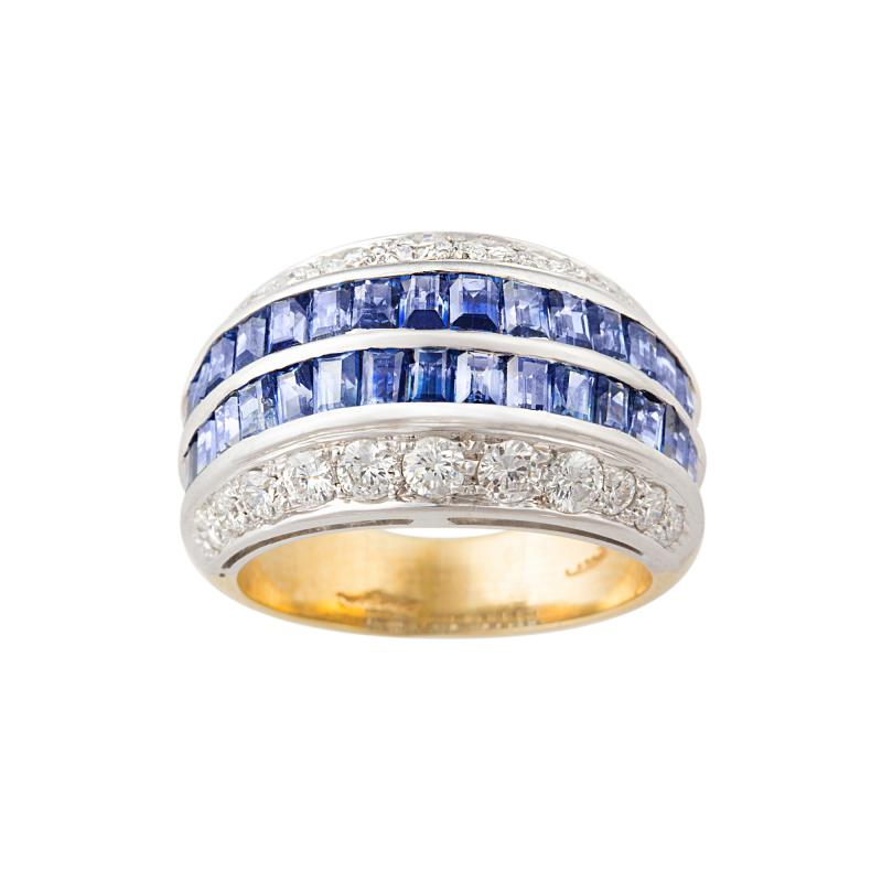 Ella Gafter Ella Gafter Blue Sapphire and Diamond Cocktail Ring