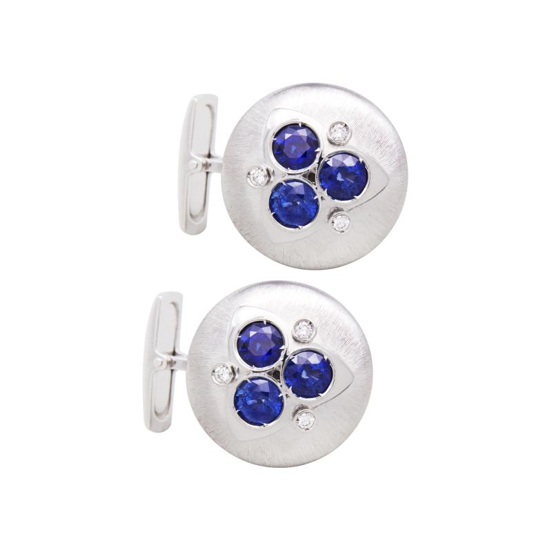 Ella Gafter Ella Gafter Blue Sapphire and Diamond Cufflinks White Gold