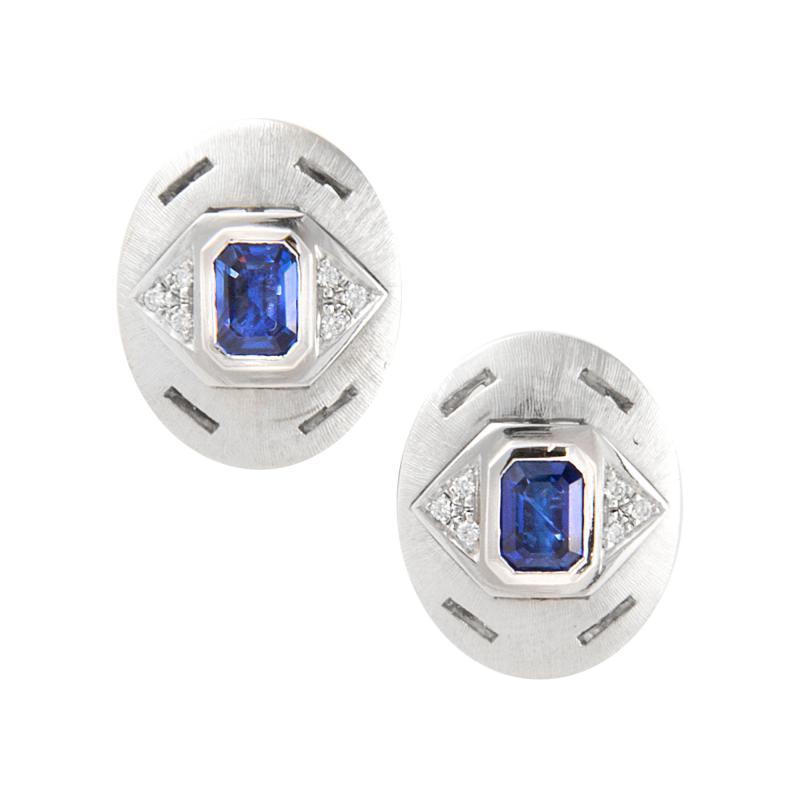 Ella Gafter Ella Gafter Blue Sapphire and Diamond White Gold Cufflinks