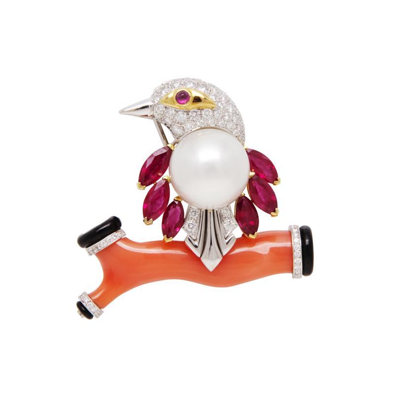 Ella Gafter Ella Gafter Coral Pearl Ruby Diamond Bird Brooch Pin