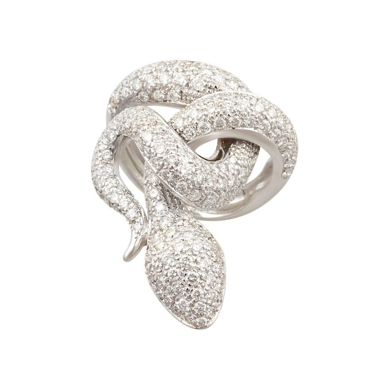 Ella Gafter Ella Gafter Diamond White Gold Snake Ring