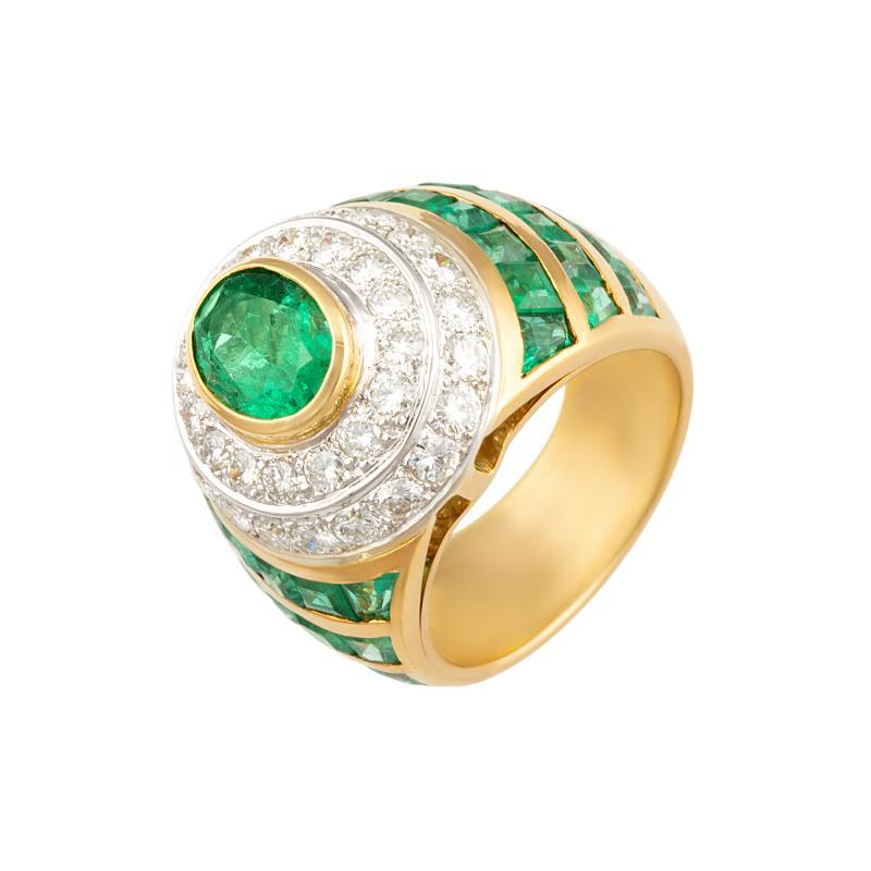 Ella Gafter Ella Gafter Emerald Diamond Dome Cocktail Ring