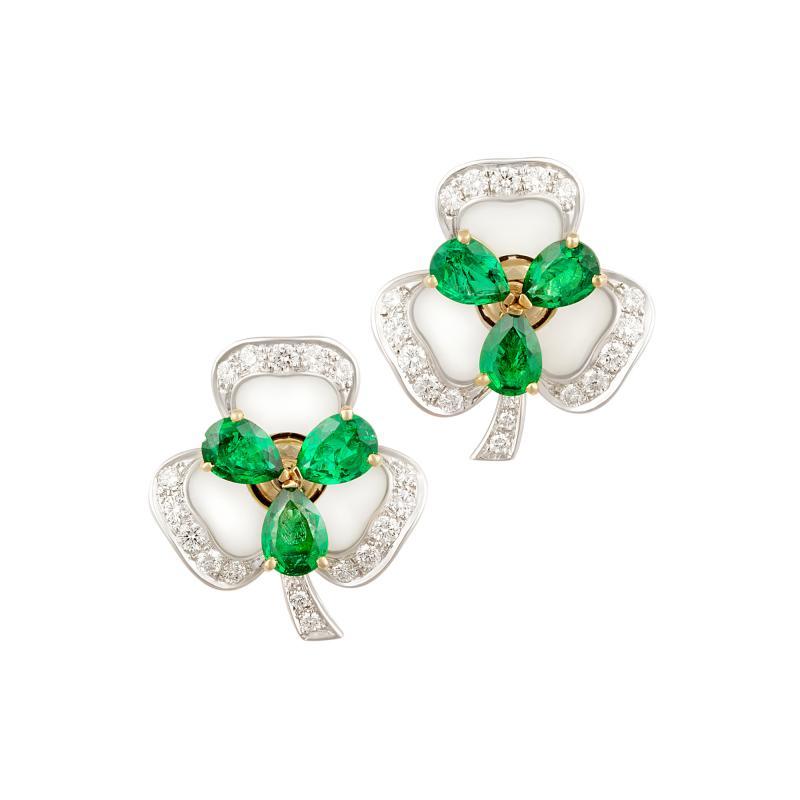 Ella Gafter Ella Gafter Emerald and Diamond Clip on Earrings Clover Flower Design