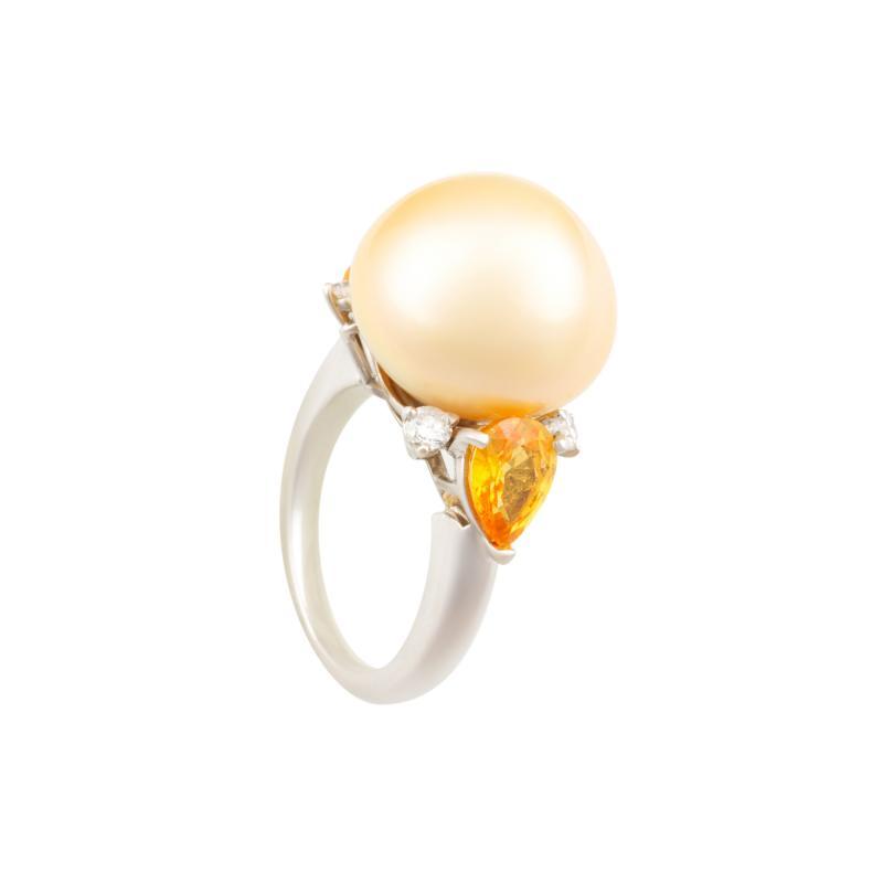 Ella Gafter Ella Gafter Golden Pearl Yellow Sapphire Diamond Cocktail Ring