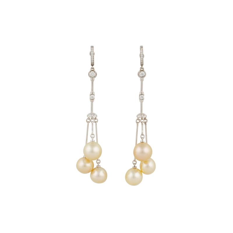 Ella Gafter Ella Gafter Golden Pearl and Diamond Drop Earrings