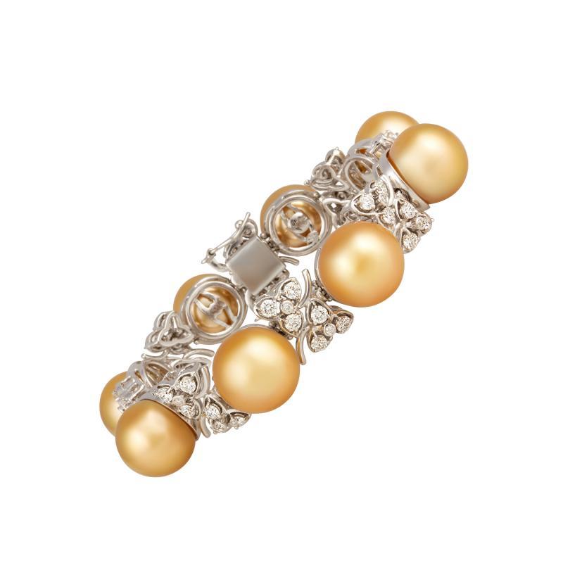 Ella Gafter Ella Gafter Golden South Sea Pearl and Diamond Bracelet